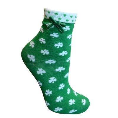 Ladies Green Socks With White Shamrock Print  White Trim and Green Ribbon