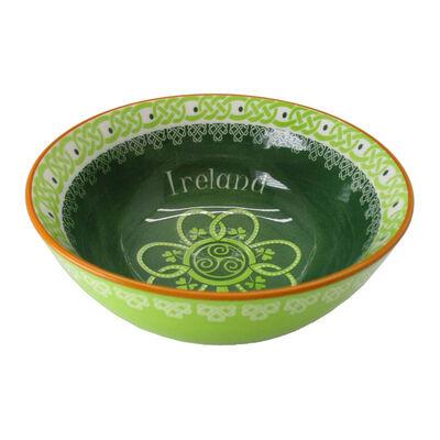 Shamrock Spiral Ireland 14Cm Bowl With Green Yellow Celtic Design