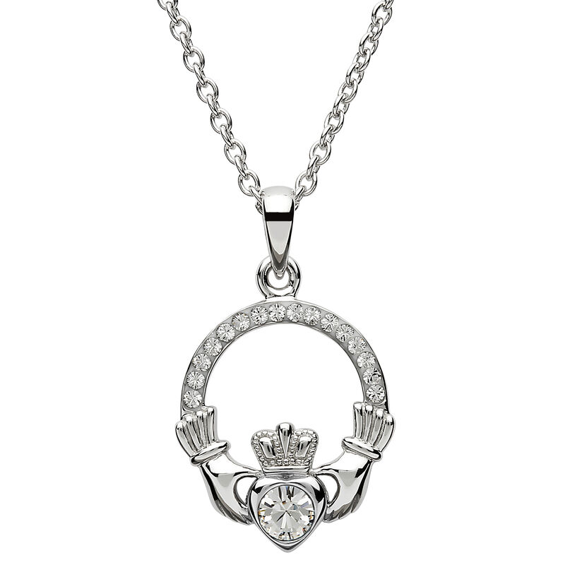 Platinum Plated April Birthstone Pendant With Enriched With Swarovski Crystal