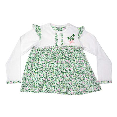 White Baby Dress With Shamrock And flowers Design