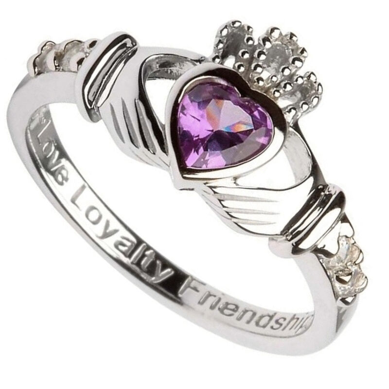 Hallmarked Sterling Silver Claddagh Alexandrite June Birthstone Ring