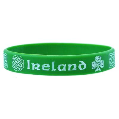 Green Wristband With Irish Celtic Design And White Ireland Print