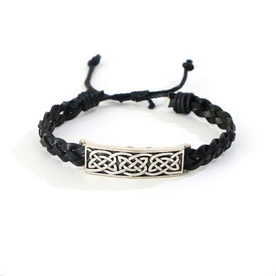 Celtic 4 Strand Leather Bracelet With Knotwork Bar Design, Black Colour