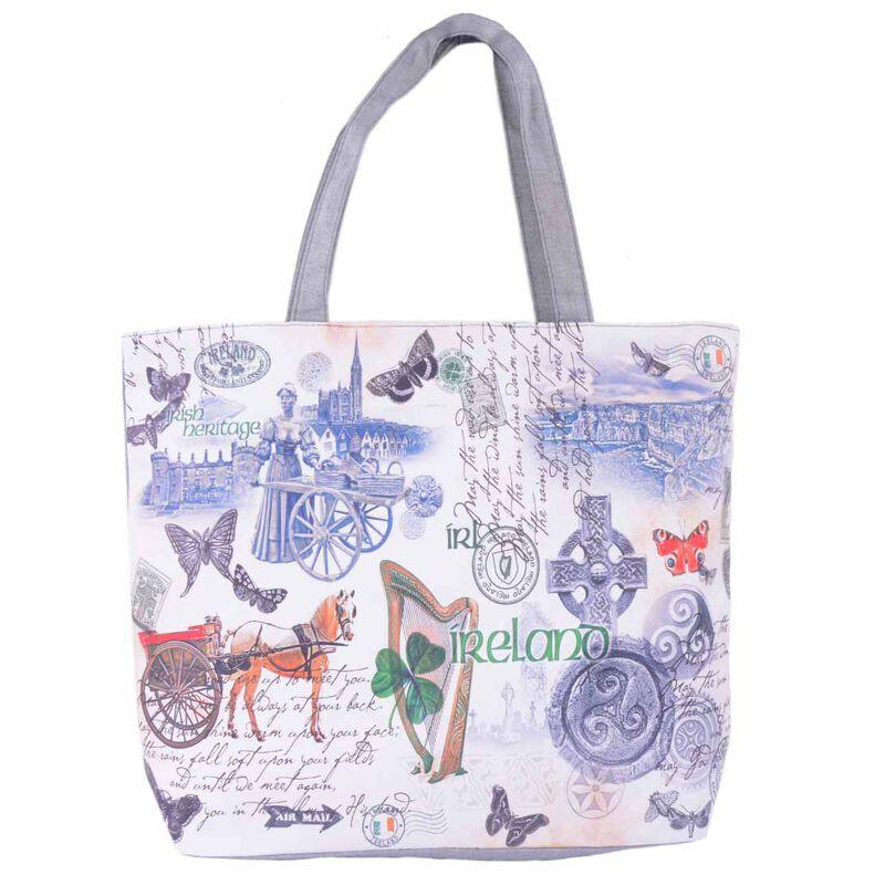 White Shopping Bag with Irish Landmarks and Icons and Irish History Design