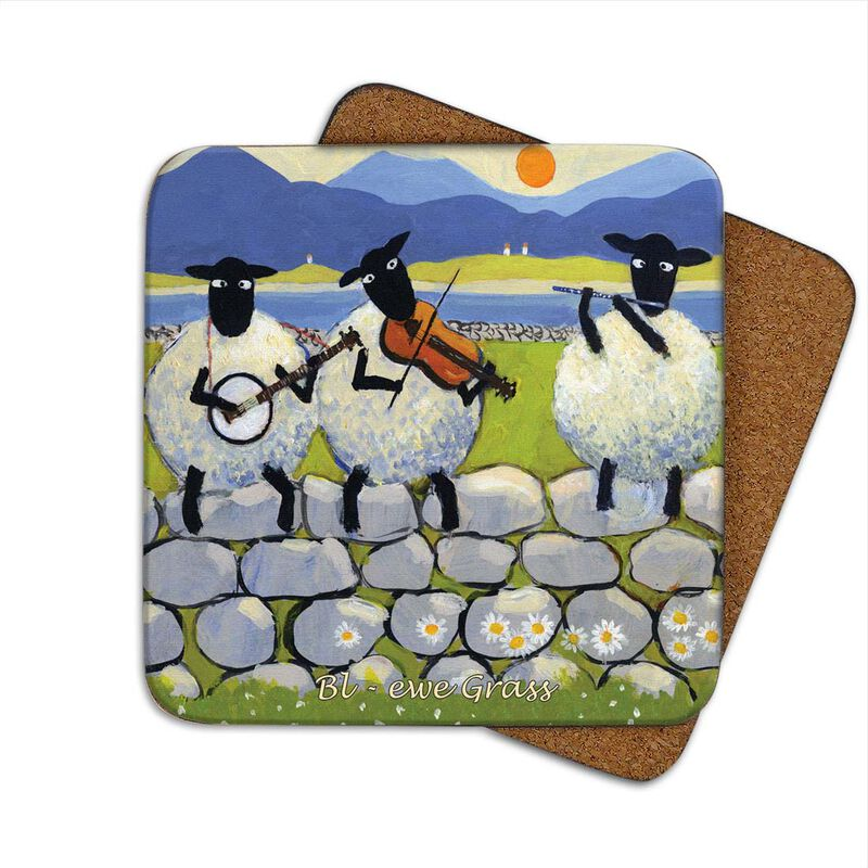 Irish Coaster With 3 Sheep On The Wall Playing Music With the Text 'Bl - Ewe Grass'