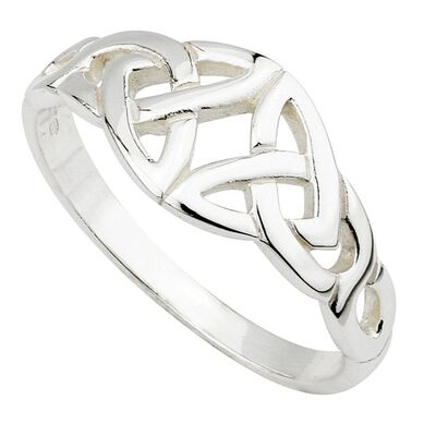 Hallmarked Sterling Silver Elegant Double Trinity Knot Design Ring