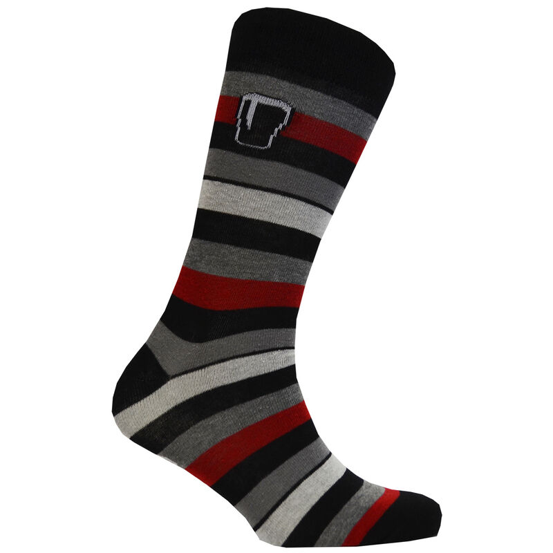 Guinness Socks With Black  Burgundy And Grey Stripes With Pint Design