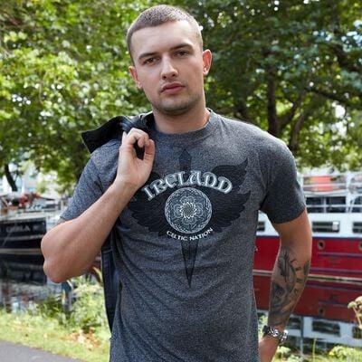 Black Grindle Round Neck T-Shirt With Celtic Nation Dagger Design