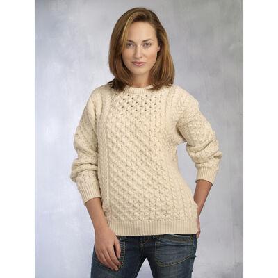 West End Knitwear Women's Aran Sweater Natural Colour 100% Merino Wool