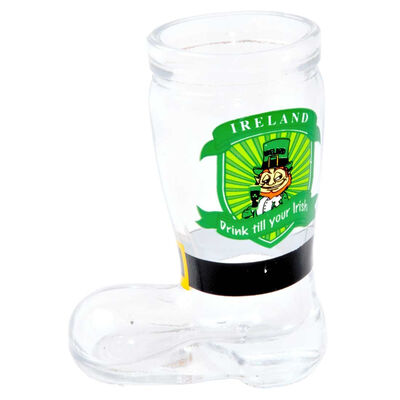 """Leprechaun Boot Shaped Shot Glass With """"Drink Till You're Irish"""" Sign"""