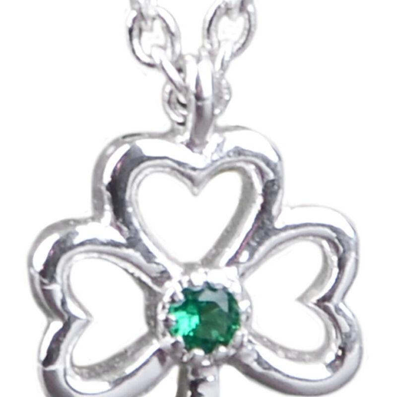 Silver Plated Shamrock Emblem Of Ireland Open Designed Ribbon With Green Zirconia Stone Pendant