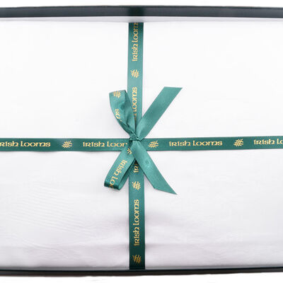 White Damask Irish Linen Tablecloth 54''x72'' Presented in a Box