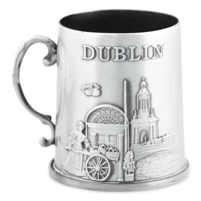 Irish Heritage Mini Metal Dublin Collage Tankard  Silver Colour