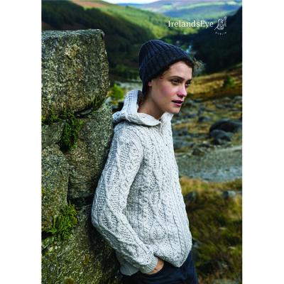 Ash Aran Merino Wool Zipped Hooded Cardigan, Silver Marl Colour