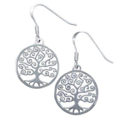 Ohrringe aus gepunztem Silber im Design eines Lebensbaums