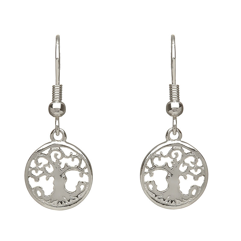 Silver Plated Tree Of Life Droplet Earrings Presented In A Box