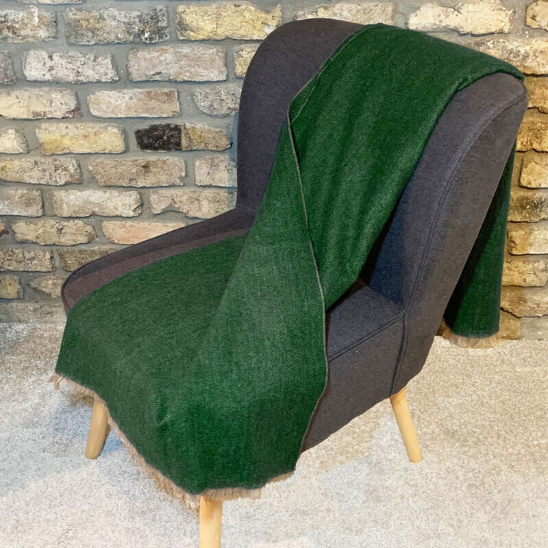 Celtic Ore Authentic Tweed Luxury Wool Blend Throw  Green Colour