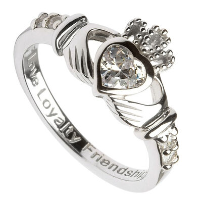 Hallmarked Sterling Silver Claddagh Birthstone Ring April