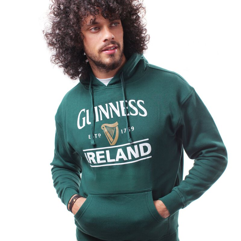 Guinness Pullover Hoodie With Guinness Logo and Ireland Print  Forest Green Colour