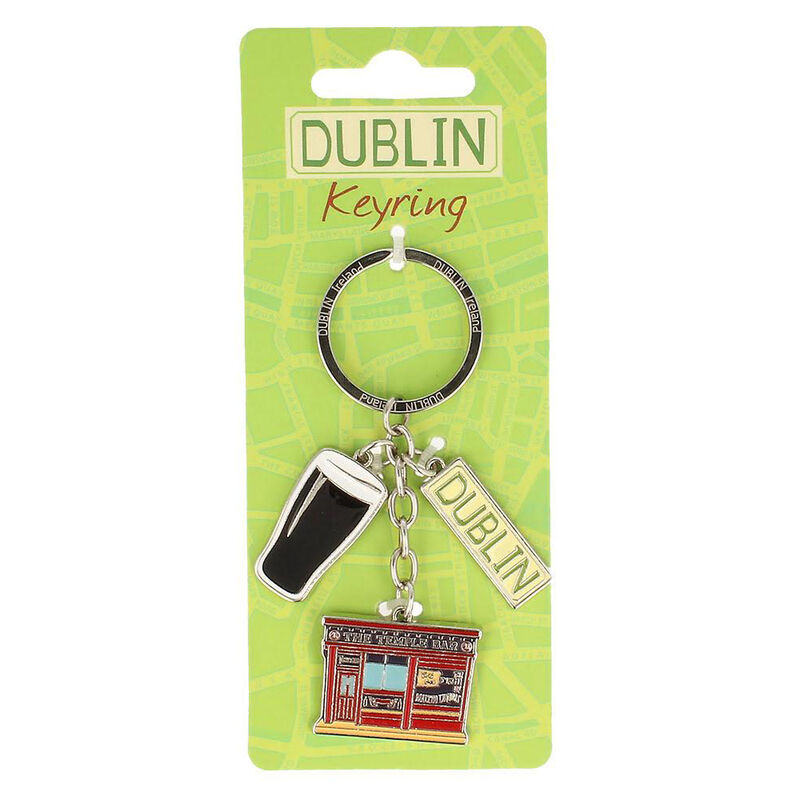 Map Of Dublin Keychain With Dublin Sign  Pint And Temple Bar Charms