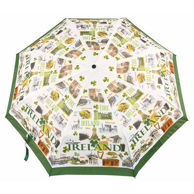 Famous Landmarks Of Ireland Folding Umbrella With Shamrocks Design