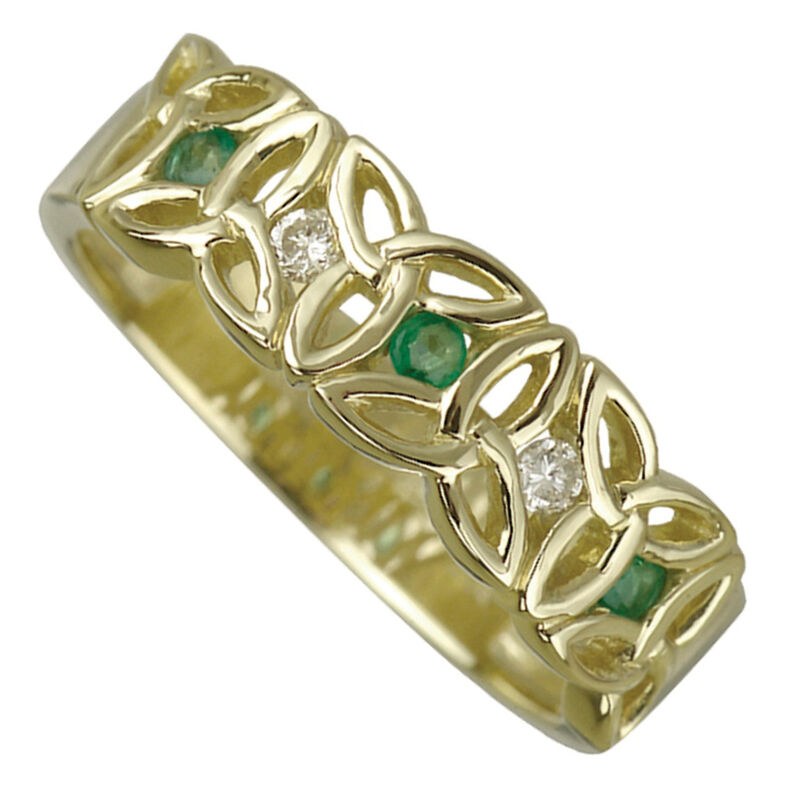 9 Carat Gold Trinity Knot Ring With Emerald Cubic Zirconia Stone