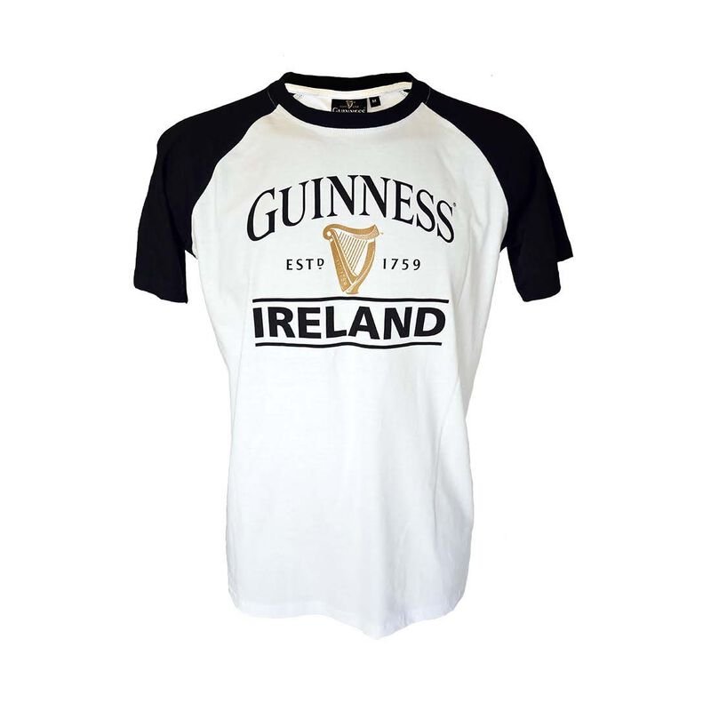 Black And White Guinness Ireland Est 1759 T-Shirt With Harp Design
