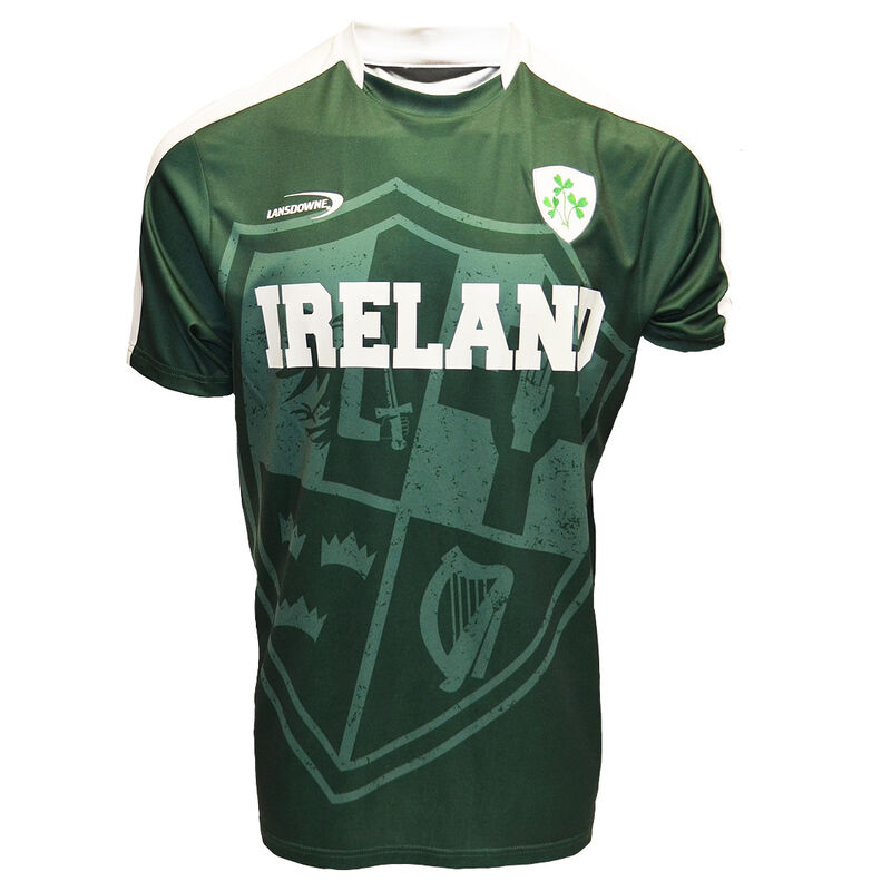 Ireland Lansdowne Performance Top With Shamrock Sprig Crest  Bottle Green Colour