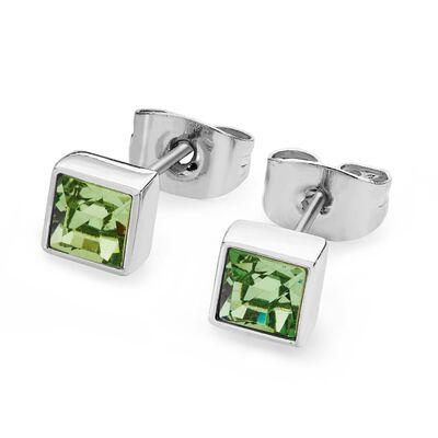 Tipperary Crystal Silver Peridot Crystal Birthstone Earrings