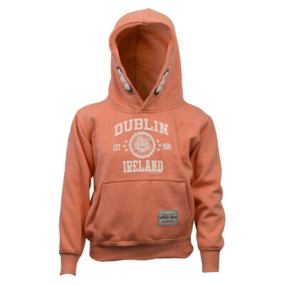 Kids Pullover Hoodie With Dublin Ireland Est 988 Stars Print  Nude Colour