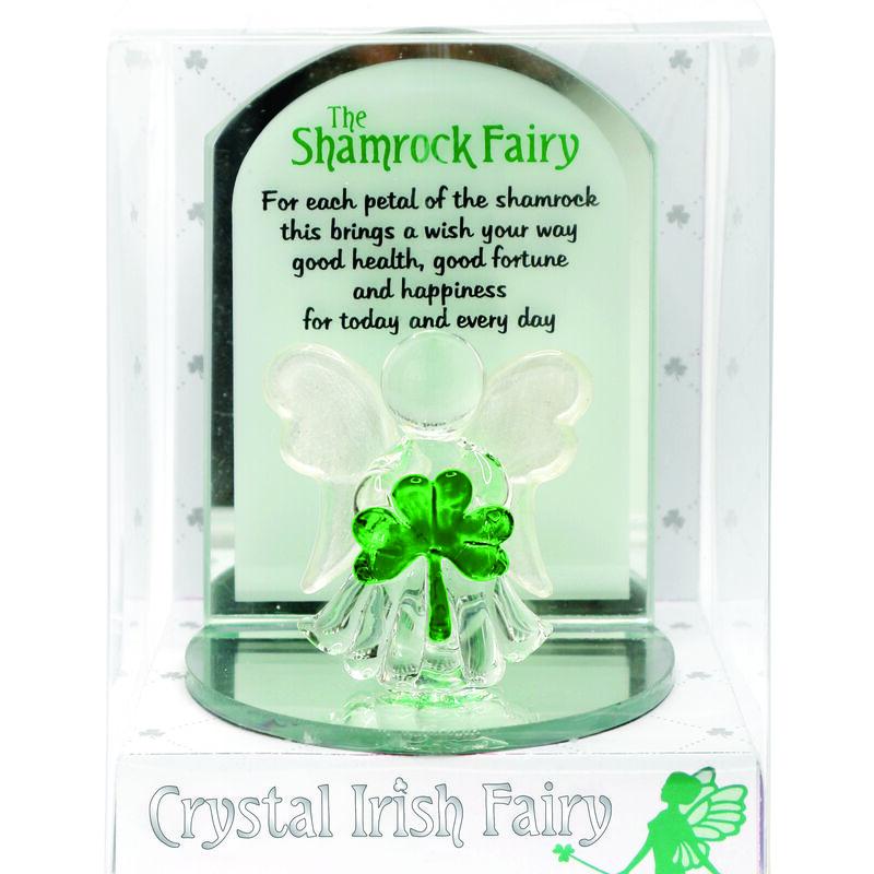 Crystal Irish Shamrock Fairy Designed With Holding A Small Green Shamrock