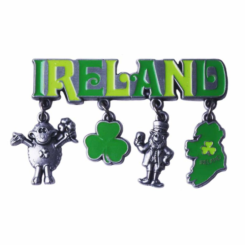 Metal Magnet With Green Ireland Text Designed With Famous Icons Of Ireland Charms