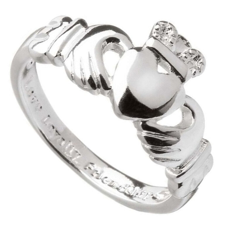 Amethyst Claddagh Ring With Heart Symbol And Crown  Silver Plated