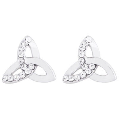 Swarovski Crystal Croi Trinity Earrings With Silver Knot Design