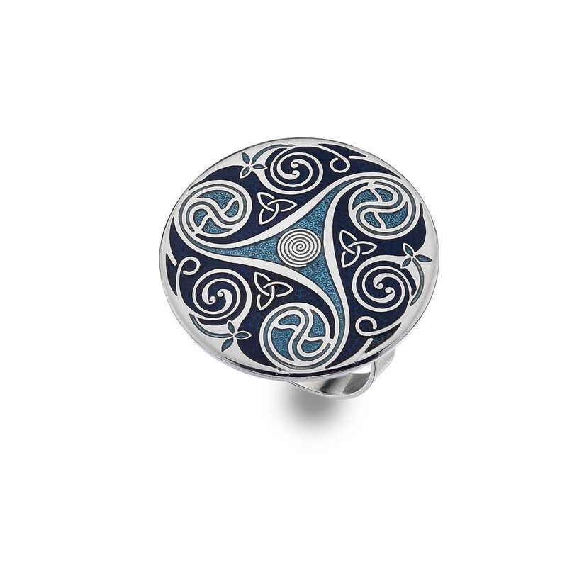 Sea Gems Blue Celtic Triskele Designed Scarf Ring