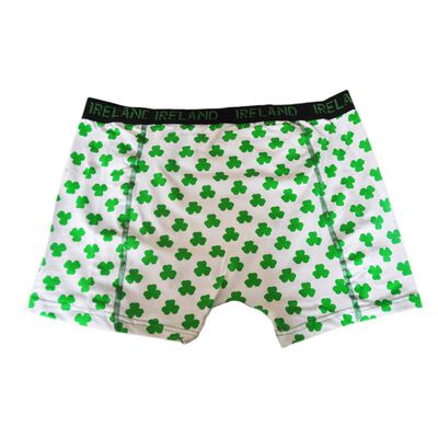 Mens Ireland Boxer Shorts With Green Shamrock Design  White Colour