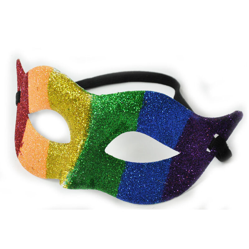 Pride Coloured  Mask With Pride Ireland Glitter  Design With Elastic Strap