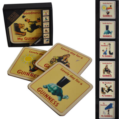 Guinness Heritage 6 Pack Coaster - Cork Backed