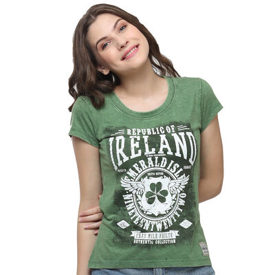 Green Republic Of Ireland Celtic Nations Established Nineteen Twenty Two Ladies T-Shirt