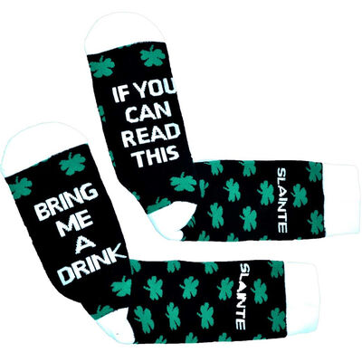 Black And White 'Bring Me A Drink' Socks With Shamrock Design