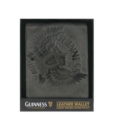 Guinness graue Ledergeldbörse für Kreditkarten und Notizen mit Flügel-Druck