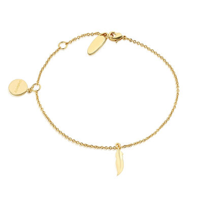 Gold Plated Newbridge Silverware Bracelet with Feather Charm