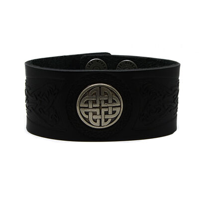 Lee River Genuine Black Leather Men's Cuff With Dara Knot Design