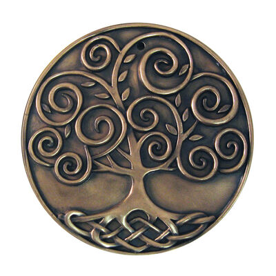 Bronze Plated Wall Plaque With Tree Of Life Design 15cm X 15cm