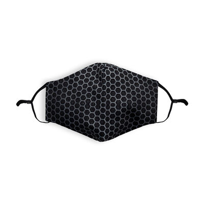 Re-usable Face Covering Black Mesh Design With Adjustable Ear loops & Filter
