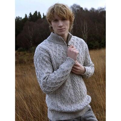 Zip Neck Aran Sweater, Oatmeal Colour