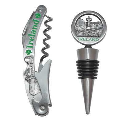 Ireland Collage Wine Accessory Gift Set With Bottle Opener And Wine Stopper