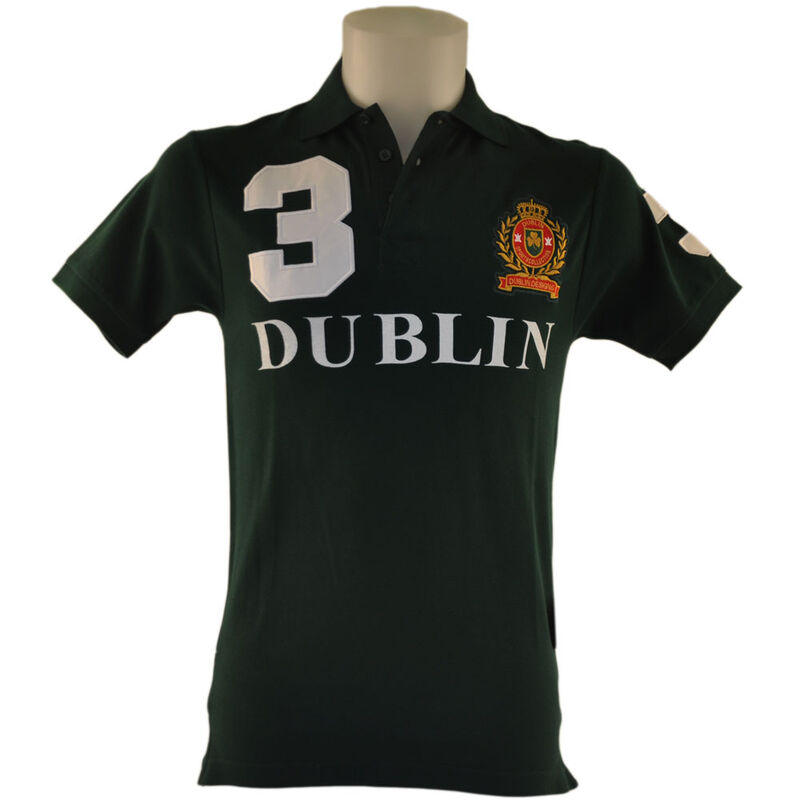 Polo Shirt With 3 Ireland Print And Ornate Crest  Forest Green Colour