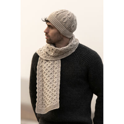 100% Merino Wool Honeycomb Knitted Hat & Scarf Set, Parsnip Colour