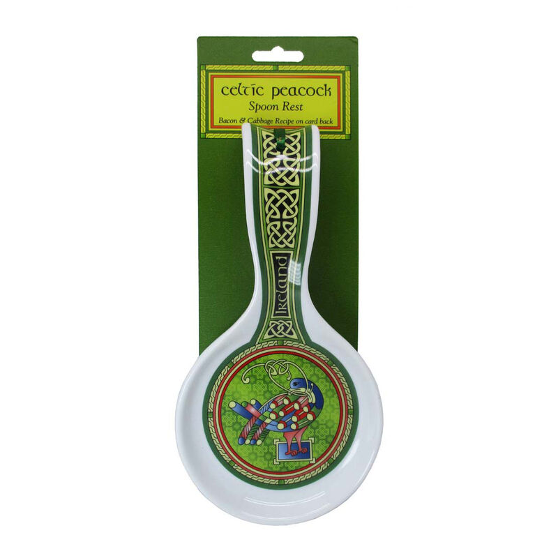 Celtic Peacock Ireland Spoon Rest With A Coloured Trinity Irish Design